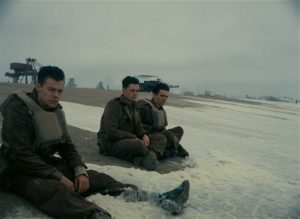 Aneurin Barnard, Harry Styles, and Fionn Whitehead in Dunkirk (2017)