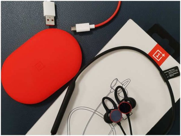 Oneplus Wireless Bullets, with USB-C cable and Red Silicon carrying pouch