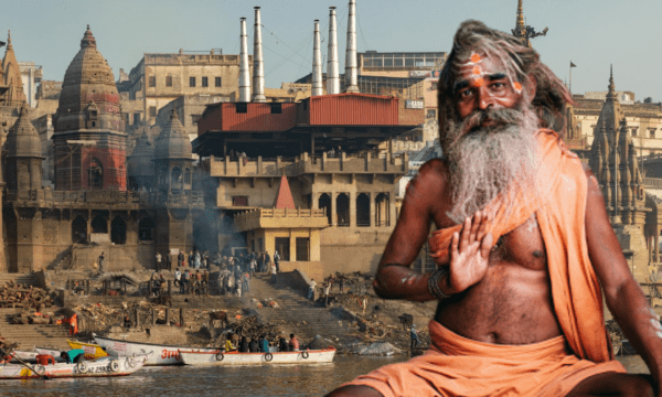 Image of a Sadhu in front of Ghats of Varanasi