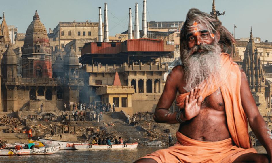 Image of a Sadhu in front of Ghats of Varanasi